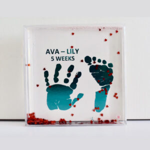 Personalised gift, water floater with foli hand and foot prints inside