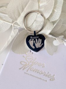 Heart Keychain, handprint and footprint keychain, gifts for her, grandparents, meanigful, engraved keyring, memories, memorial, birthdays