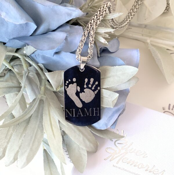 Persona;lised mens jewellery tag with hand and footprint. Personalised gifts