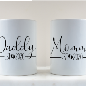 Mugs personalised with Mummy and Daddy, gifts for new parents