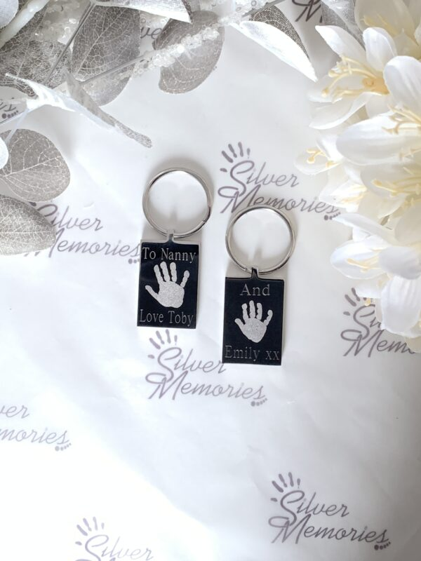 Preimum Keychain, handprint and footprint keychain, gifts for her, grandparents, meanigful, engraved keyring, memories, memorial, birthdays, gifts for him, own handwriting, special