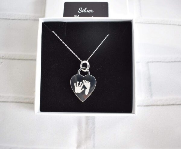 Sterling Silver Large Heart pendant and necklace, handprint jewellery and footprint jewellery mothers day, gifts for her