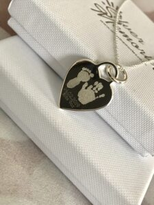 Sterling Silver Large Heart pendant and necklace, handprint jewellery and footprint jewellery mothers day, gifts for her, premium jewellery