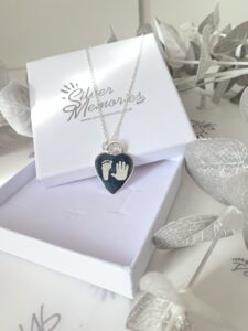 Sterling Silver Large Heart pendant and necklace, handprint jewellery and footprint jewellery, premium, gifts for her, birthdays, mothers day