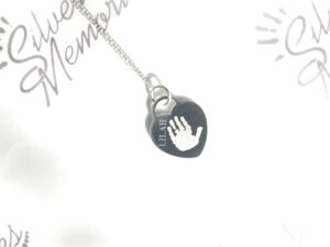 Sterling Silver Small Medium large Heart pendant and necklace, handprint jewellery and footprint jewellery