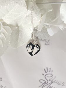 Sterling Silver Small or Medium Heart pendant and necklace, handprint jewellery and footprint jewellery