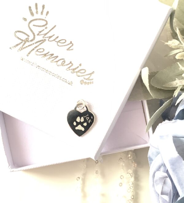 Pawprint necklace in sterling silver on an open Silver Memories jewellery box