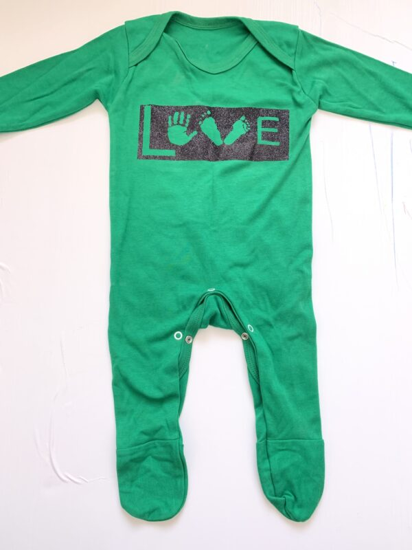 Personalised baby clothing, personalised baby sllepsuit romper with hand and foot print