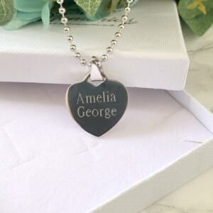 stainless steel heart ball necklace, engraved, name necklace, premium necklace