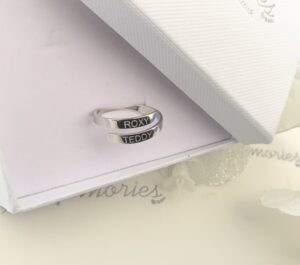 a sterling silver ring, engraved with the name of your choice. Personalised ring.